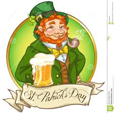 happy st patricks day leprechaun drinking beer royalty free stock