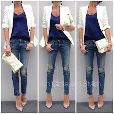 white blazer blue top jeans and white heels perfect for