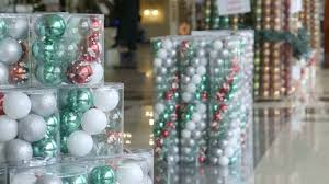 tree balls ornaments buckets in shopping mall stock