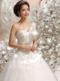 One Shoulder Wedding Dress One Shoulder Ball Gown Clear Crystal Wedding Dress Tbdress Com