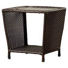 Rattan Side Table Mercury Row Caro Outdoor Wicker Side Table With Glass Top