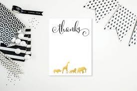 gold safari animal thank you cards flat or folded a2 card