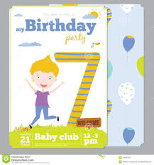 Invitation Card Samples Birthday Party Invitation Card Template With Cute Stock Vector