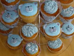 baby boy cupcakes blue stars teddy bears for christening or baby