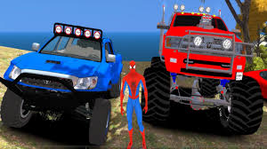 monster truck cartoon videos monster truck cars cars for children and toddlers spiderman