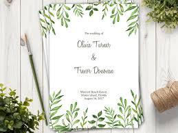 Beach Wedding Program Templates Watercolor Wedding Program