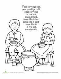 peas porridge rhyme coloring page preschool worksheets free