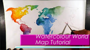 World Map Artwork by Wanderlust Watercolour World Map Painting Tutorial Youtube