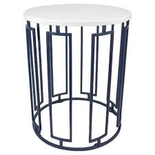 White Round Accent Table Round White And Blue Accent Table