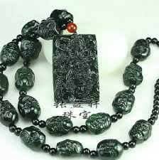 black jade necklace images Wholesale eighteen black jade guan gong guan pendant necklace tin jpg