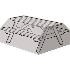 6 seater picnic table cover black