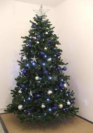 Christmas Tree With Blue Decorations - blue silver christmas tree rainforest islands ferry