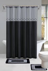Oriental Shower Curtains Gray Black Modern Shower Curtain 15 Pcs Bath Rug Mat Gray Black