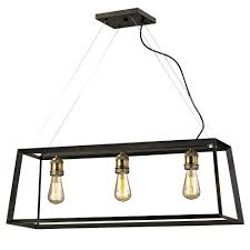 Antique Island Lighting Fifth And Main Lighting Austin 3 Light Black Frame Island Pendant