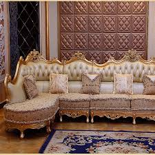 Gold Leather Sofa Luxury Leather Sofa Living Room Wood Carving And Gold Corner Sofa