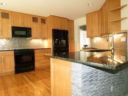 kitchen furniture grey tile backsplash connected brown wooden