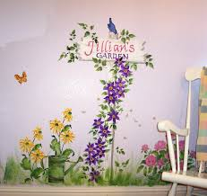 childrens painted wall murals cathie s murals childrens murals flower garen signpost with name