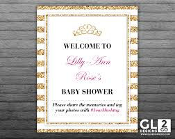baby shower welcome sign tag archive for princess baby shower gldesigns 2 go