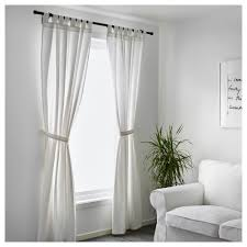 White Tie Curtains Lenda Curtains With Tie Backs 1 Pair 55x98 Ikea