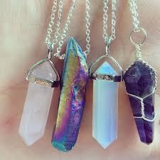 crystal necklace rock images Jewels quartz boho jewelry boho bohemian gemstone pendant jpg