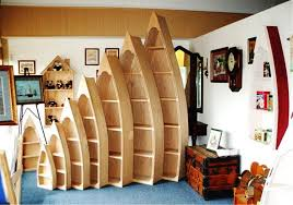 Canoe Bookcase Unique Shaped Boat Bookshelf