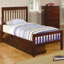 Bed With Headboard And Drawers Furniture Brown High Gloss Polished Mahogany Wood Single Bed With