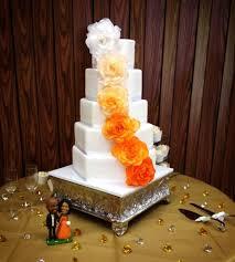 my wedding cake 5 layer hexagon custom silk flowers lemon white