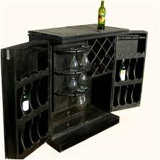 Black Liquor Cabinet Solid Wood Expandable Wine Liquor Cabinet Bar Rack