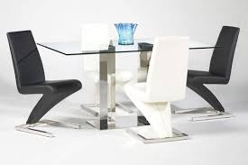 When White Leather Dining Chairs Zigzag Shape Leather Dining Chair In Black Or White Upholstery San