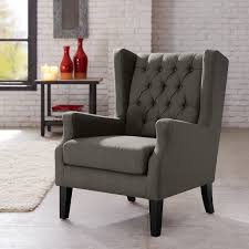 amazon com button tufted wing chair grey maxwell kitchen u0026 dining