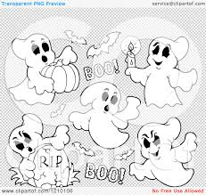 halloween transparent background cartoon of black and white halloween ghosts and bats royalty