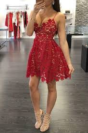 a line red lace homecoming dresses 2017 spaghetti straps