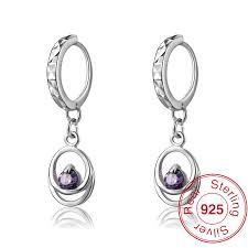 small white gold hoop earrings aliexpress buy smart chic amethyst purple 925 silver