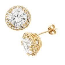 large stud earrings gioelli 10k gold cut cubic zirconia large designer stud