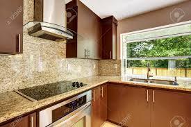 modern kitchen with brown cabinets modern kitchen room with matte brown cabinets shiny granite