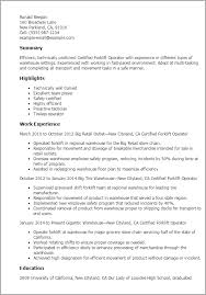 Resume Examples Warehouse by Professional Certified Forklift Operator Templates To Showcase