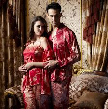 luxury silk his hers matching couples pajamas sleepwear sets