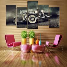 online get cheap luxury paintings aliexpress com alibaba group decor pictures vintage home decor paintings 5 panel luxury vintage sports cars on canvas posters and