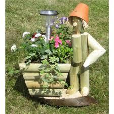wooden garden flowerpot standing flowerpot with solar