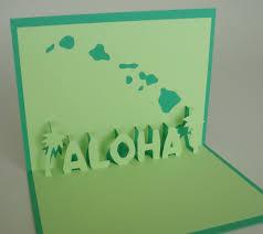 aloha card pop up card with palm tree and hawaiian island