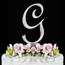 wedding cake toppers letters g sparkle silver wf monogram wedding cake toppers