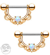 gold nipple rings images 14g rose gold brass lacey opal nipple ring barbells jpg