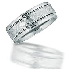 Hawaiian Wedding Rings by Molokai Engraved Hawaiian Patterned Center Silver Wedding Band By