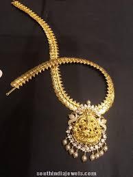 boutique designer jewellery gold kasumalai with lakshmi pendant necklace collections