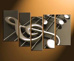 Music Note Decor 5 Piece Canvas Wall Art Musical Notes Canvas Photography Music