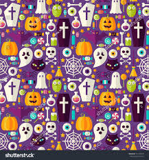 purple halloween party seamless pattern flat stock vector