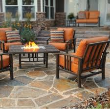 patio furniture with fire pit table trenton deep seating homecrest patio furniture family leisure fire