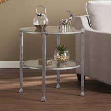 round distressed end table shop boston loft furnishings lea distressed silver round end table