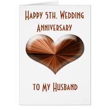 5th wedding anniversary card to husband and zazzle