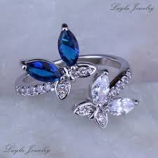 butterfly rings diamond images Women jewelry blue sapphire and cz diamond butterfly rings silver jpg